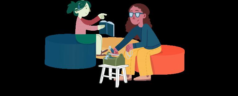 איור אישה עם ארגז כלים וילדה עם ספר